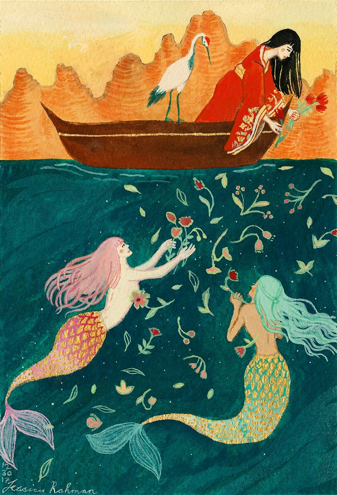 painting of a girl on a boat throwing flowers to mermaids