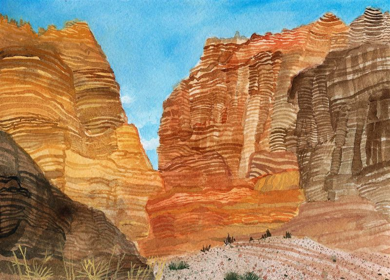 painting of Fall Canyon in Death Valley