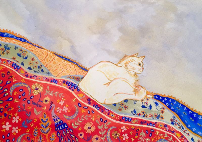 painting of a cat on a decorative robe