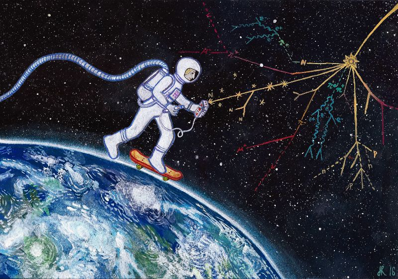 painting of an astronaut skating on the earth